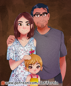 Commission: Vintage Family cartoon portrait by Catifornia