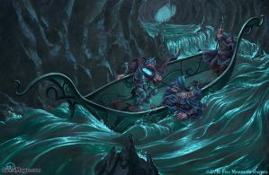 Dwarves on the underground river by SpiralMagus