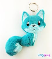 Teal Minky Fox Plush Keychain by TheHarley