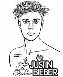Justin Bieber coloring page by Topcoloringpages