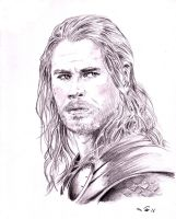 Chris Hemsworth as Thor by emalterre