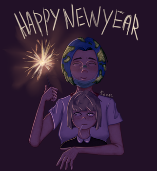 Earth-Chan and Moon-Chan New Year by 1FERUS
