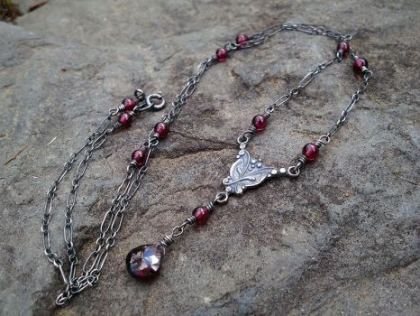 Victorian Blood Drop Garnet Necklace -Oxidized by QuintessentialArts