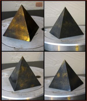 Bronze and Hematite Resin Pyramid by CopperCentipede