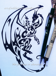 Dragon And Mouse Tribal Design by WildSpiritWolf