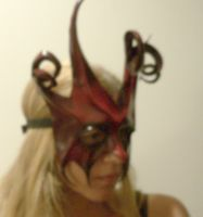 Devilish Jester mask in Red and Black by teonova