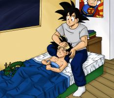 Commission Goku and Gohan by camlost