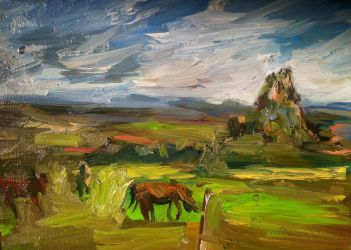 Horses grazing by scifo