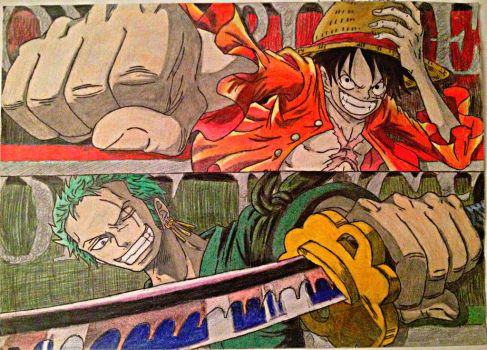 One Piece : Monkey D Luffy . Roronoa Zoro by KumadoriCP9