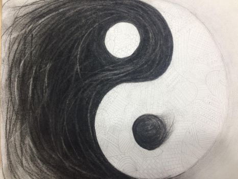Yin Yang - Charcoal and Pencil by JBubble692