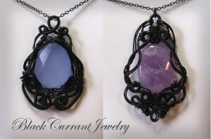 Black Wire Pendants by blackcurrantjewelry