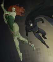 Commission:Ivy and Batman by doubleleaf