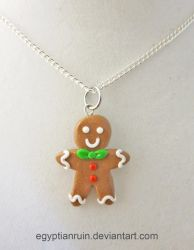 Gingerbread Man Necklace by egyptianruin