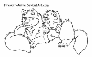 Wolf Cuddle Line Art by Firewolf-Anime