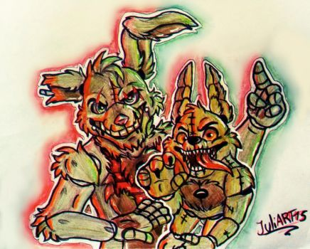 .:attack:. Springtrap and Plushtrap by JuliArt15