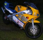 Yellow N Blue Motorbike by Gracies-Stock