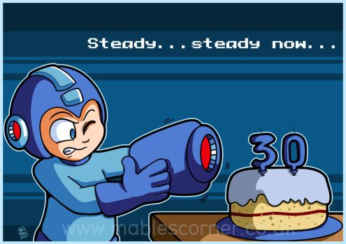 Megaman's 30th birthday by MableTheRabbid