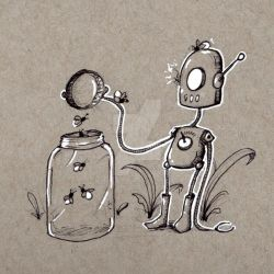 Robots: Releasing Fireflies by KekeIllustrations