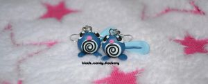 Cute poliwag earrings by gothic-yuna