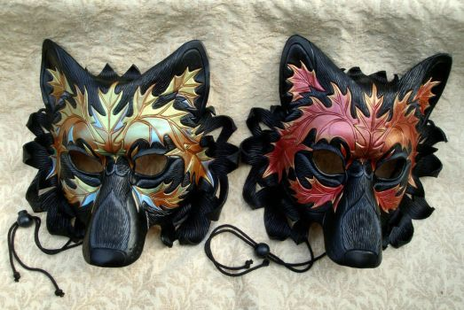Two Autumn Wolf Masks by merimask