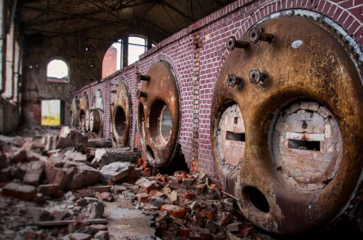 Old cosmetics factory Pollena in Warsaw - boilers by Lantret
