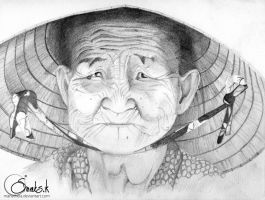 Vietnamese old lady by Manatheia