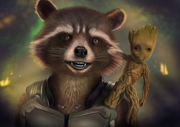 Rocket and Groot - digital drawing by BiigM