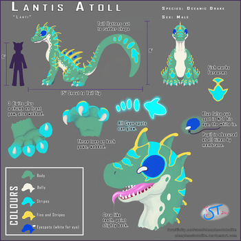 Lantis Atoll, The Oceanic Drake: Ref Sheet by SleeplessTotodile