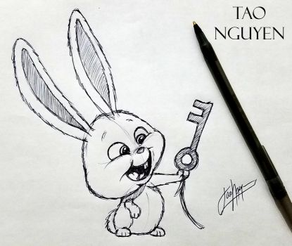 Tao Nguyen's Snowball Sketch Pen Drawing by TaoNguyenArts