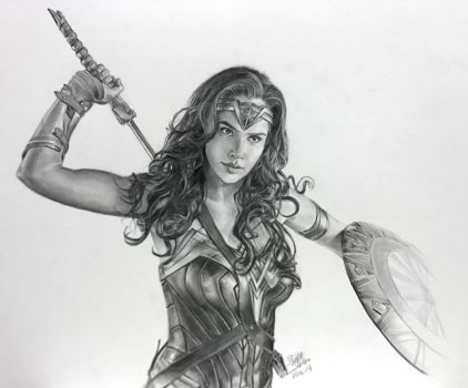 Pencil drawing of Wonderwoman by chaseroflight