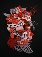 Butterflies and ladybugs ( red and pink version ) by RibbonsandClay