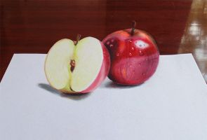 3D apple drawing - Colored pencils by f-a-d-i-l