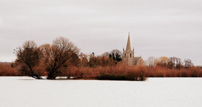 Wintery Church Across The Lake by nectar666