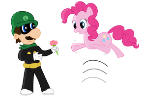 Luigi flowers for Pinkie by Mezame9