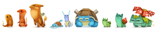 Kanto Starters by Cryptid-Creations