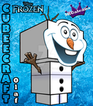 Cubeecraft 3D view of Olaf from Disney's Frozen