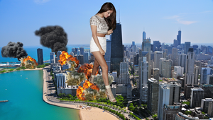 Giantess Selena Attacks Chicago by abc35