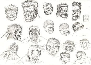 Red - Green Hulk head sketch by aliduzgun