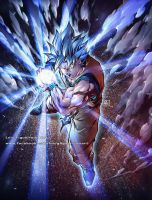 GOKU Super Saiyan God Blue COMMISSION by marvelmania
