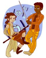 Rey and Finn by Magigingercal