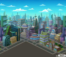 Futurama New New York Skyline by zarry