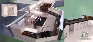 Kitchen+Dining Room Concept art by Vatsel