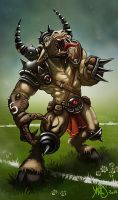 Bloodbowl minotaure by Traaw