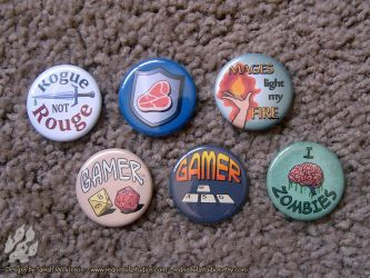Pinback Buttons for Gamers by Nightlyre