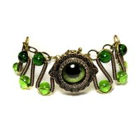 Steampunk Jewelry - Green Beholder Eye Bracelet by CatherinetteRings