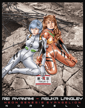 Evangelion Girls in Color by DaleNorvell