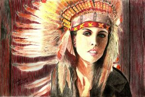 Native Indian Girl - Color Pencil Drawing by enzofrenzy