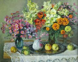 Still life with yellow gladioluses by AmsterdamArtGallery
