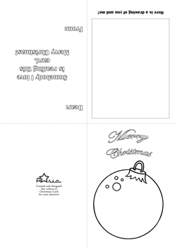Bauble Christmas Card Colour-in by Astarsia