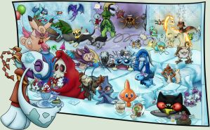 Frosty Festivities Team Mischiefs and Ghoststory by demiveemon